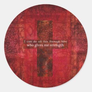 Philippians 4:13 inspirational Scripture Round Stickers
