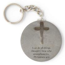 Philippians 4:13 inspiring Bible verse Keychain