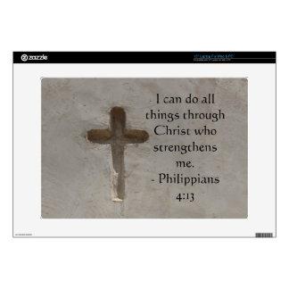 "Philippians 4:13 inspiring Bible verse Decals For 15"" Laptops"