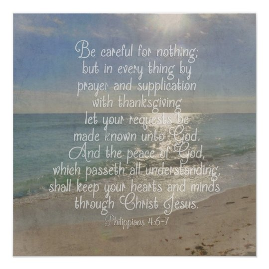 Philippians 4 13 Peace Bible Verse Beach Christian Poster