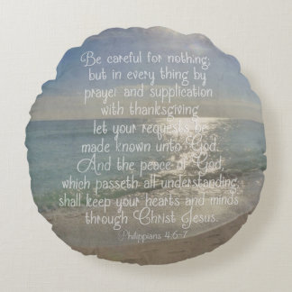 Philippians 4:13 Peace Bible Verse Beach Christian Round Pillow