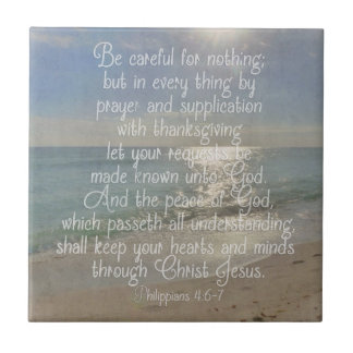 Philippians 4:13 Peace Bible Verse Beach Christian Small Square Tile