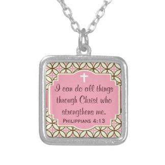 Philippians 4 13 Pendant - Pink