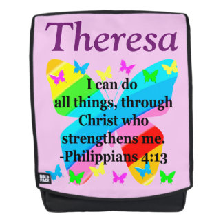 PHILIPPIANS 4:13 PERSONALIZED BUTTERFLY BACKPACK