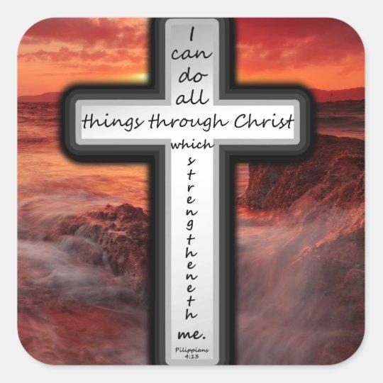 Philippians 4:13 square sticker