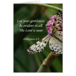 Philippians 4:5 Butterfly Flowers Greeting Card