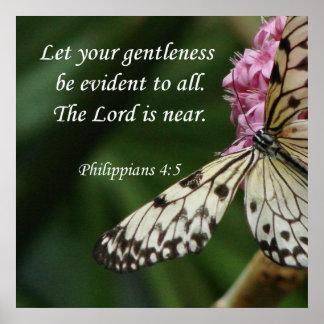 Philippians 4:5 Butterfly Flowers Print