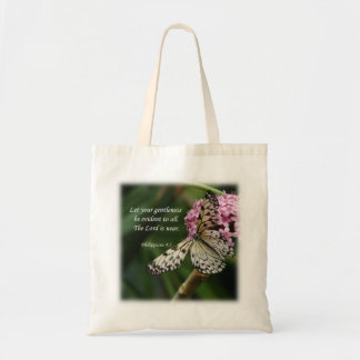 Philippians 4:5 Butterfly Flowers Tote Bag