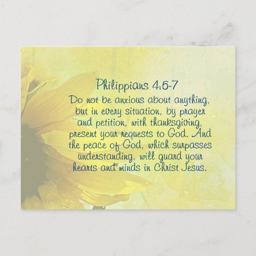 Philippians 4:6-7 The Peace of God, Bible Verse Holiday Postcard
