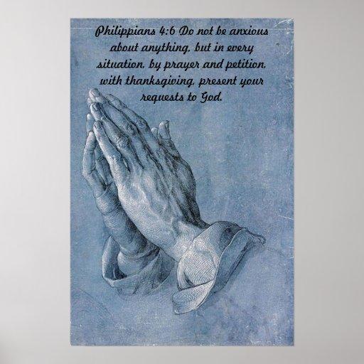 Philippians 4:6 Praying Hands Poster.