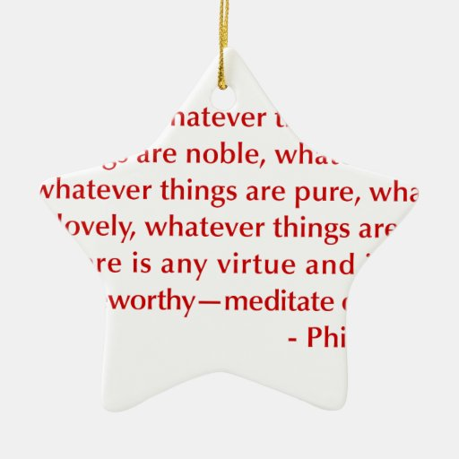 Philippians-4-8-opt-burg.png Double-Sided Star Ceramic Christmas Ornament
