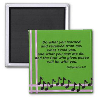 Philippians 4:9 2 inch square magnet