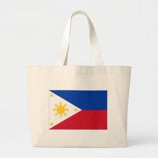 Philippine flag large tote bag