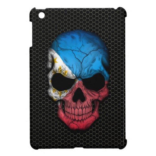Philippine Flag Skull on Steel Mesh Graphic iPad Mini Cover
