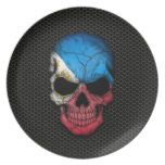 Philippine Flag Skull on Steel Mesh Graphic Party Plate