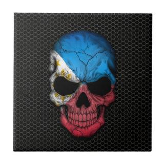 Philippine Flag Skull on Steel Mesh Graphic Small Square Tile