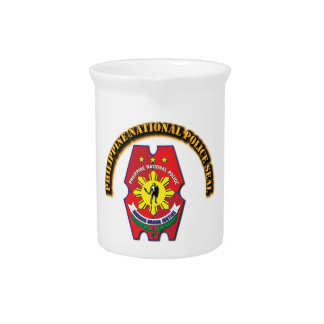Philippine National Police Seal with Text Drink Pitchers
