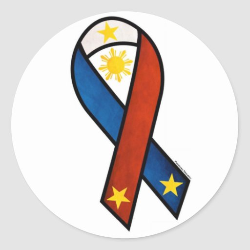 "Philippine ""support""  ribbon stickers"