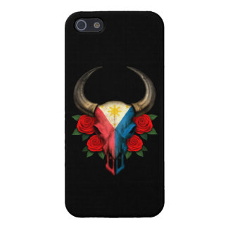 Philippines Flag Bull Skull with Red Roses iPhone 5/5S Covers