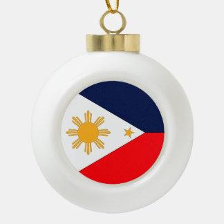 Philippines Flag Ceramic Ball Christmas Ornament