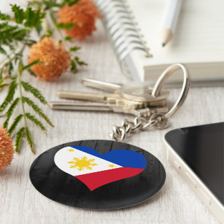 Philippines flag colored basic round button keychain