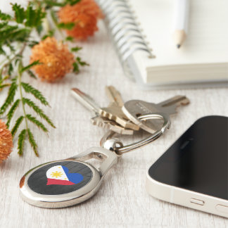 Philippines flag colored Silver-Colored oval metal keychain