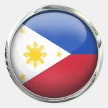Philippines Flag Glass Ball Round Sticker