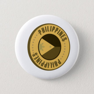 Philippines Flag Gold Coin Pinback Button