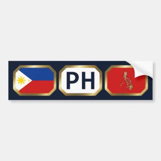Philippines Flag Map Code Bumper Sticker Car Bumper Sticker