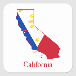 Philippines flag over California state map Square Sticker