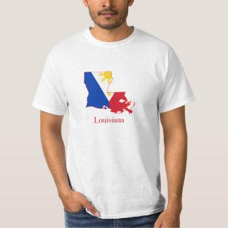 Philippines flag over Louisiana map T-Shirt