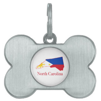 Philippines flag over North Carolina state map Pet ID Tag