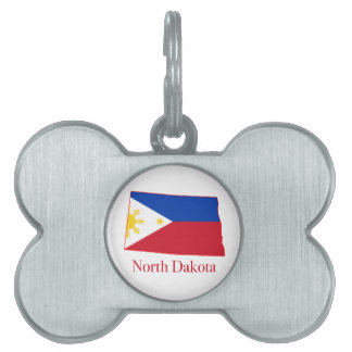 Philippines flag over North Dakota state map Pet Tag