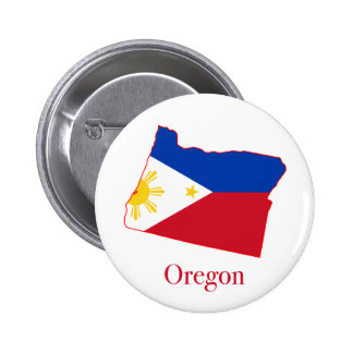 Philippines flag over Oregon state map Button