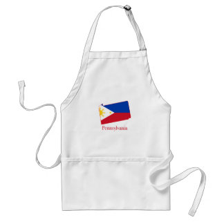 Philippines flag over Pennsylvania state map Adult Apron