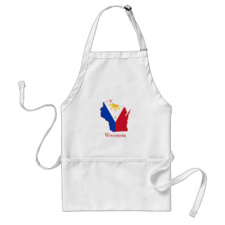 Philippines flag over Wisconsin state map Adult Apron