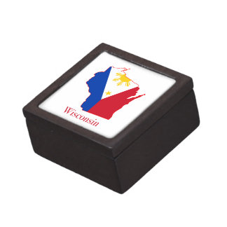 Philippines flag over Wisconsin state map Jewelry Box