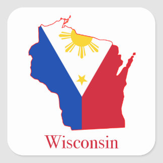Philippines flag over Wisconsin state map Square Sticker