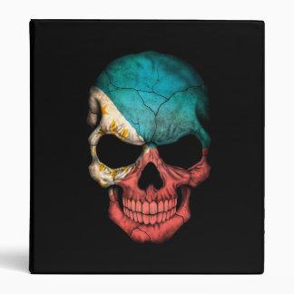 Philippines Flag Skull on Black Vinyl Binder