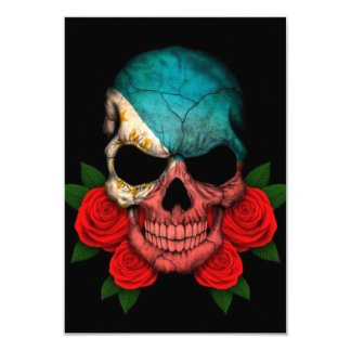 Philippines Flag Skull with Red Roses Card