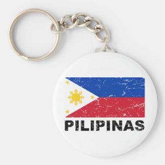 Philippines Flag Vintage Basic Round Button Keychain