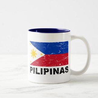 Philippines Flag Vintage Two-Tone Coffee Mug