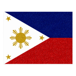 Philippines Glitter Flag Postcard