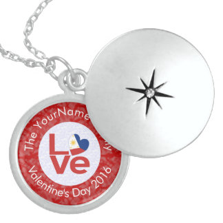 Philippines LOVE White on Red Locket Necklace