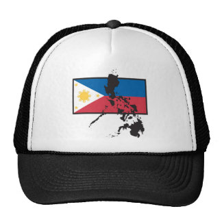 Philippines map over flag trucker hat