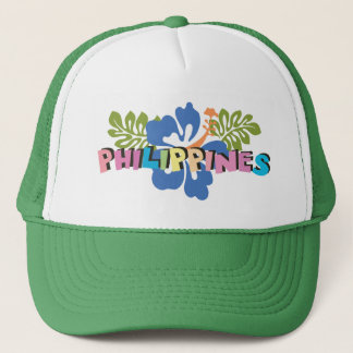 Philippines on Tropical Hibiscus Flowers Trucker Hat