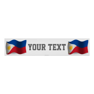 Philippines Waving Flag Banner Poster