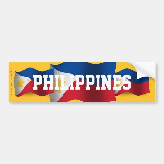 Philippines Waving Flag Bumper Sticker