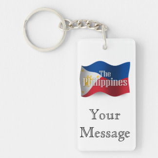 Philippines Waving Flag Double-Sided Rectangular Acrylic Keychain