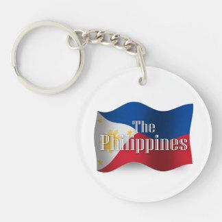 Philippines Waving Flag Double-Sided Round Acrylic Keychain